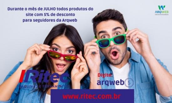 Todo os produtos do site da RITEC com 5% de desconto para seguidores da Arqweb